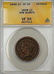 1848 Large Cent 1c Coin ANACS  Details Rim Bumps (B)