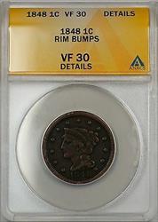 1848 Large Cent 1c Coin ANACS  Details Rim Bumps (C)