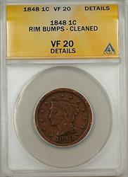 1848 Large Cent 1c Coin ANACS  Details Rim Bumps-Cleaned