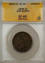 1848 Large Cent 1c Coin ANACS  Details Rim-Bumps