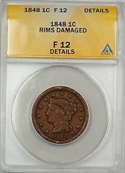 1848 Large Cent 1c Coin ANACS  Details Rims-Damaged