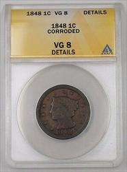 1848 US Braided Hair Large Cent Coin ANACS  Details Corroded