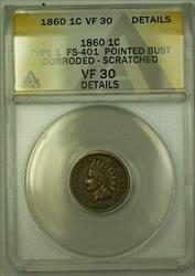 1860 Indian Head Cent FS-401 ANACS  Details Corroded+Scratched (23)