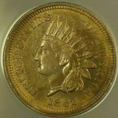 1862 Indian Head Cent 1c ANACS  (Unc) Details Cleaned