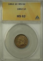1862 Indian Head Cent 1c Penny ANACS  (B)