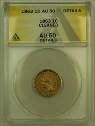 1863 Indian Head Cent 1c ANACS  Details Cleaned