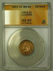 1863 Indian Head Cent 1c ANACS  Details Cleaned (WW)
