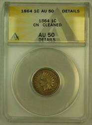 1864 CN Indian Head Cent 1c ANACS  Details Cleaned