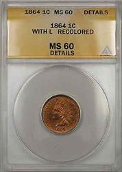 1864 Indian Head 1C Coin with L Recolored ANACS  Details (Better Coin PM)
