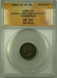 1864 With L Repunched Date Indian Cent Penny 1c Coin ANACS  Details RJS