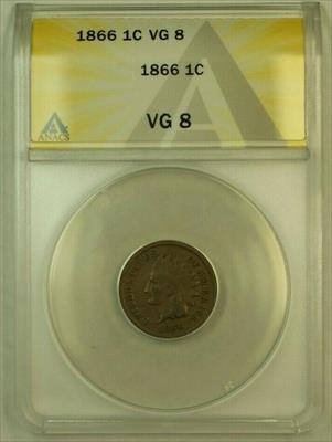 1866 Indian Head Cent 1c ANACS