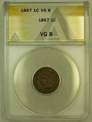 1867 Indian Head Cent 1c ANACS