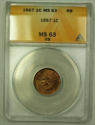 1867 Indian Head Cent 1c ANACS RB Beautiful Woodgrain Toning (WW)