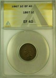 1867 Indian Head Cent Penny 1c ANACS  (XF) (Very Choice for Grade)
