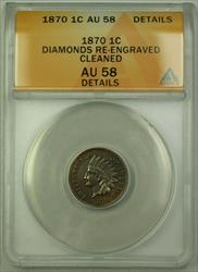 1870 Indian Cent Penny 1c Coin ANACS  Details Diamonds Re-Engraved RJS