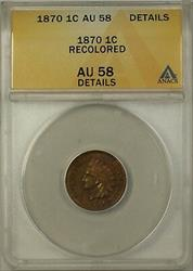 1870 Indian Head Cent 1c ANACS  Details Recolored Penny
