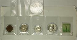1941 United States Year Set Walking Liberty with 1c Statue of Liberty Stamp