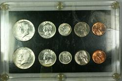 1964 P & D Silver Year Set in Black Capital Plastic Case with Tape Residue