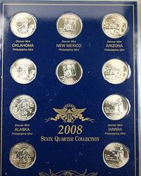 2008 P & D United States Quarter Collection Brilliant Uncirculated 10 Coins