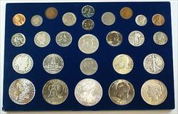 20th Century US Type Set with Beautifully Toned Morgan 11 Silver Coins 26 Total