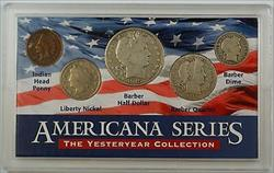 Americana Series Yesteryear Collection - Five Total Coins, 3 Silver Barber Coins