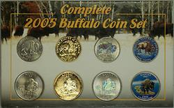 Complete 2005-D Buffalo Coin Set Lewis and Clark Nickels & Kansas State Quarters