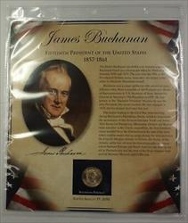 Postal Commem Society James Buchanan Presidential $1 Coin & Stamp Set in Holder