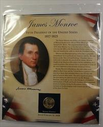Postal Commem Society James Monroe BU Presidential $1 Coin & Stamp Set in Holder
