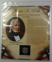 Postal Commem Society James Polk BU Presidential $1 Coin & Stamp Set in Holder