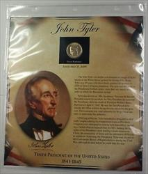 Postal Commem Society John Tyler BU Presidential $1 Coin & Stamp Set in Holder