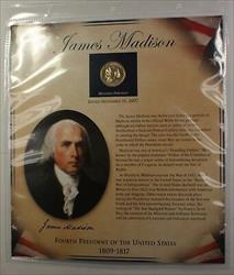 Postal Commem Society Madison BU Presidential $1 Coin & Stamp Set in Holder