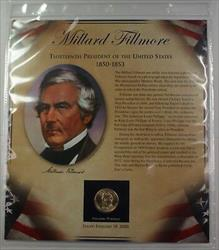 Postal Commem Society Millard Fillmore Presidential $1 Coin &Stamp Set in Holder