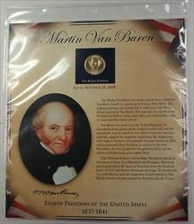 Postal Commem Society Van Buren BU Presidential $1 Coin & Stamp Set in Holder