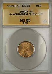 1909 S Lincoln Wheat Penny 1C Coin ANACS  Red S/Horizontal S FS-1502 DGH