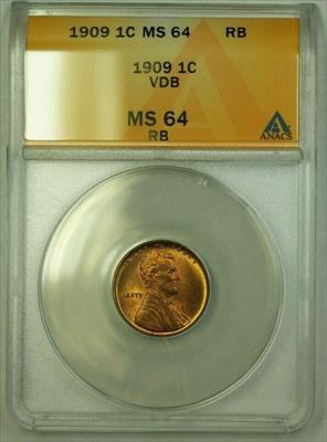 1909 VDB Lincoln Wheat Cent 1c ANACS  RB (A) (WW)