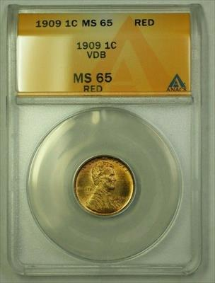 1909 VDB Lincoln Wheat Cent 1c ANACS  Red (A) (WW)