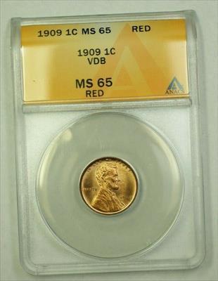1909 VDB Lincoln Wheat Cent 1c ANACS  Red (B) (WW)