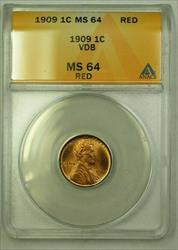 1909 VDB Lincoln Wheat Cent 1c ANACS  Red (F) (WW)
