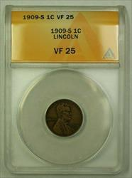 1909-S Lincoln Wheat Cent 1c ANACS  (B) (WW)