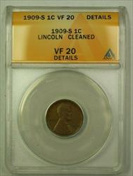 1909-S Lincoln Wheat Cent 1c ANACS  Details Cleaned (A) (WW)