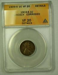 1909-S Lincoln Wheat Cent 1c ANACS  Details Corroded (A) (WW)