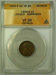 1909-S Lincoln Wheat Cent 1c ANACS  Details Corroded (B) (WW)