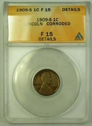 1909-S Lincoln Wheat Cent 1c ANACS  Details Corroded (WW)