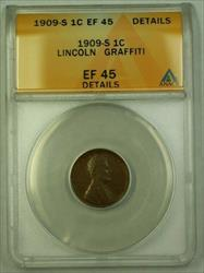 1909-S Lincoln Wheat Cent 1c ANACS  Details Obverse Graffiti (WW)