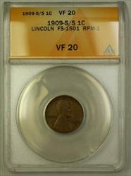 1909-S Lincoln Wheat Cent 1c FS-1501 RPM-001 S/S NE (Stage C) ANACS  (WW)