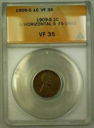 1909-S Lincoln Wheat Cent 1c FS-1502 S/S Horizontal (Stage D) ANACS  (WW)