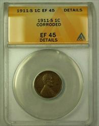 1911-S Lincoln Wheat Cent 1c ANACS  Details Corroded (A) (WW)