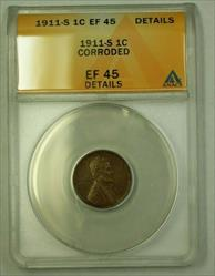 1911-S Lincoln Wheat Cent 1c ANACS  Details Corroded (B) (WW)