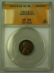 1911-S Lincoln Wheat Cent 1c ANACS  Details Obv. Scratched (WW)