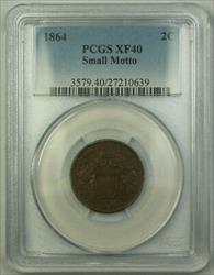 1864 Small Motto 2c Two Cent Piece PCGS  GKG